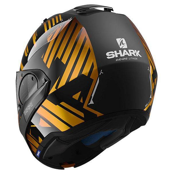Shark Evo-One 2 Lithion Dual Helmet - Black/Anthracite/Gold colour, Scooter Clothing, Chelsea, UK