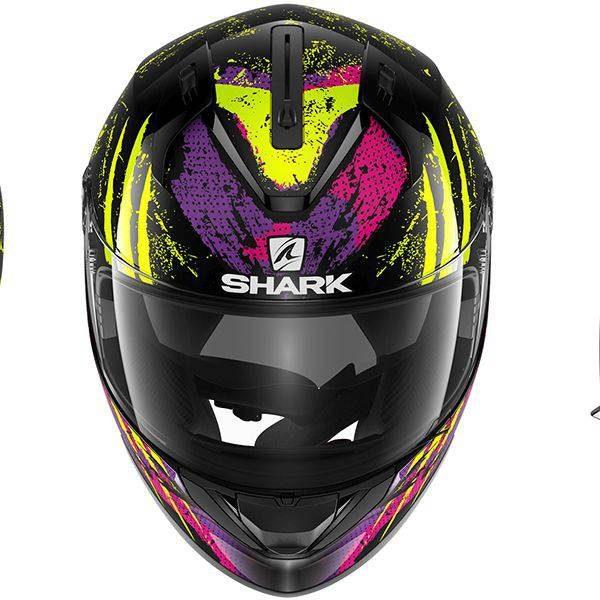 Shark Ridill Threezy Helmet - Black/Yellow/Violet colour, CMG Shop