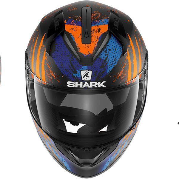 Shark Ridill Threezy Helmet - Matt Black/Orange/Blue colour, UK