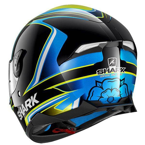Shark Skwal 2 Sykes Helmet - Black/Blue/Yellow colour, Motorcycle Clothing Shop