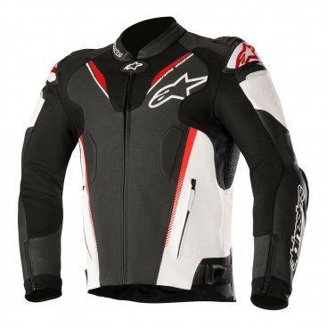 Alpinestars Atem v3 Leather Jacket Black White & Red Fluo