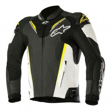 Alpinestars Atem v3 Leather Scooter Jacket - Black White & Yellow Fluo colour, UK