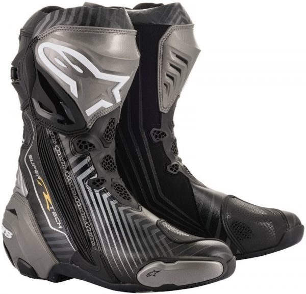 Alpinestars Supertech R 44 Motorcycle Boots - Black/Grey/Gold colour