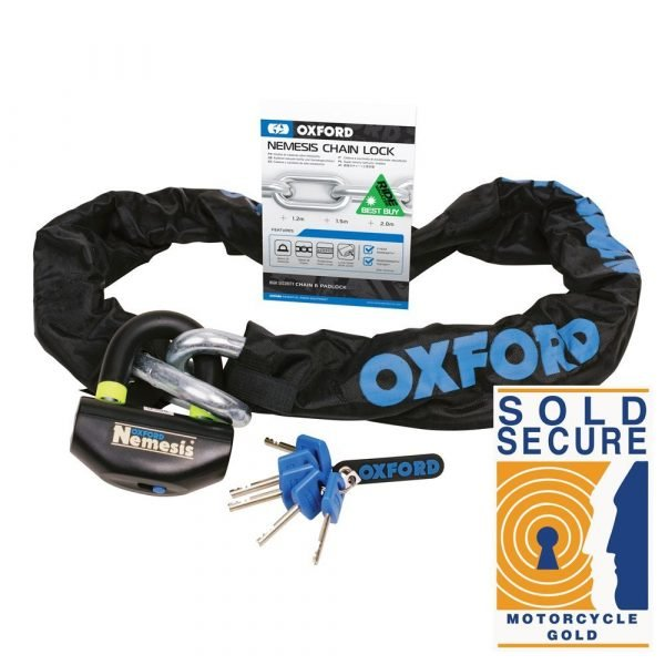 OXFORD Nemesis 16mm Chain and Padlock 1.5m Black