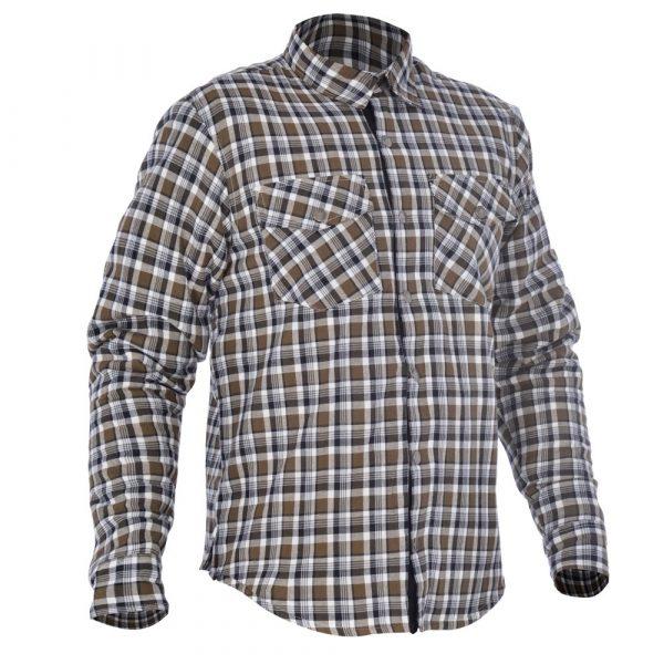 Oxford Kickback Scooter Shirt - Checker Khaki/White colour, Chelsea, UK