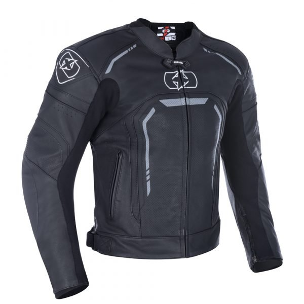 Oxford Strada Men's Leather Sports Scooter Jacket - Stealth Black colour, UK