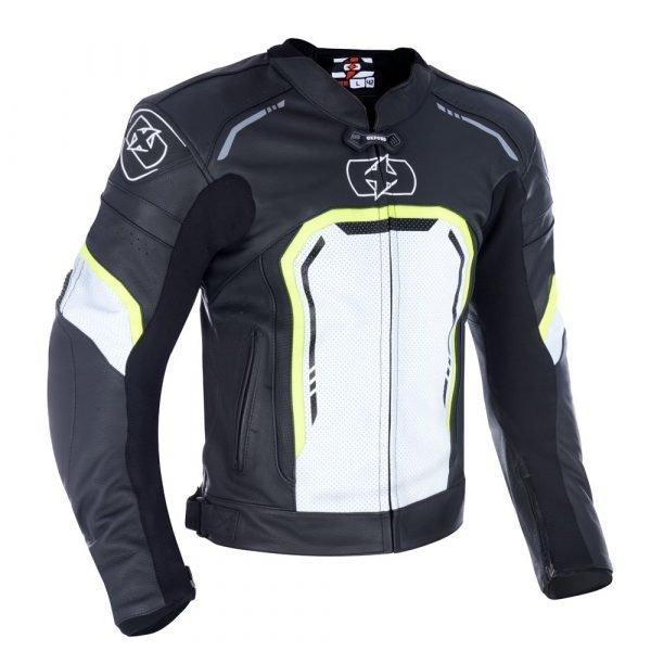 Oxford Strada Men's Leather Sports Moto Jacket - Black/White/Fluo Yellow colour, Chelsea