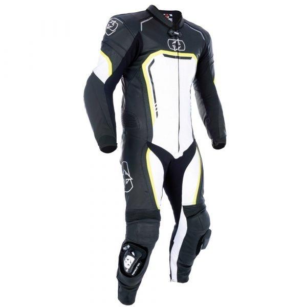 Oxford Stradale Men's 1 Piece Motorbike Leather Suit - Black/White/Fluo colour