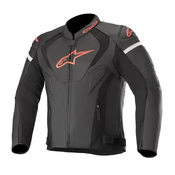 Alpinestars Jaws v3 Leather Jacket - Black/Red Fluo colour, Motorcycles and Scooters Clothing, UK