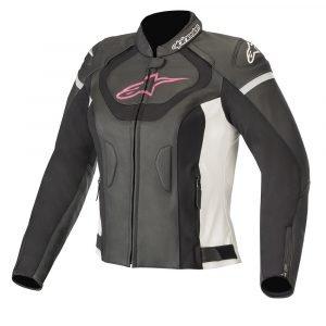 Alpinestars Stella Jaws v3 Leather Jacket - Black/White/Fuchsia colour, MCS