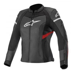 Alpinestars Stella Kira Leather Jacket - Black/Red Fluo colour