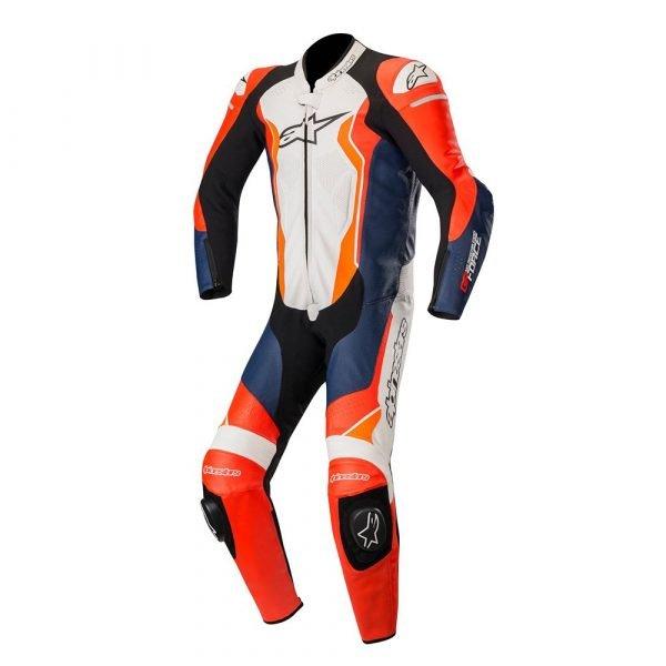 Alpinestars GP Force 1 Piece Leather Suit - Red/Black/White/Orange colour, UK