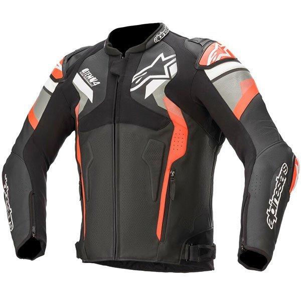 Alpinestars Atem v4 Motorbike Leather Jacket - Black/Grey/Red/Fluo colour, CMG Shop