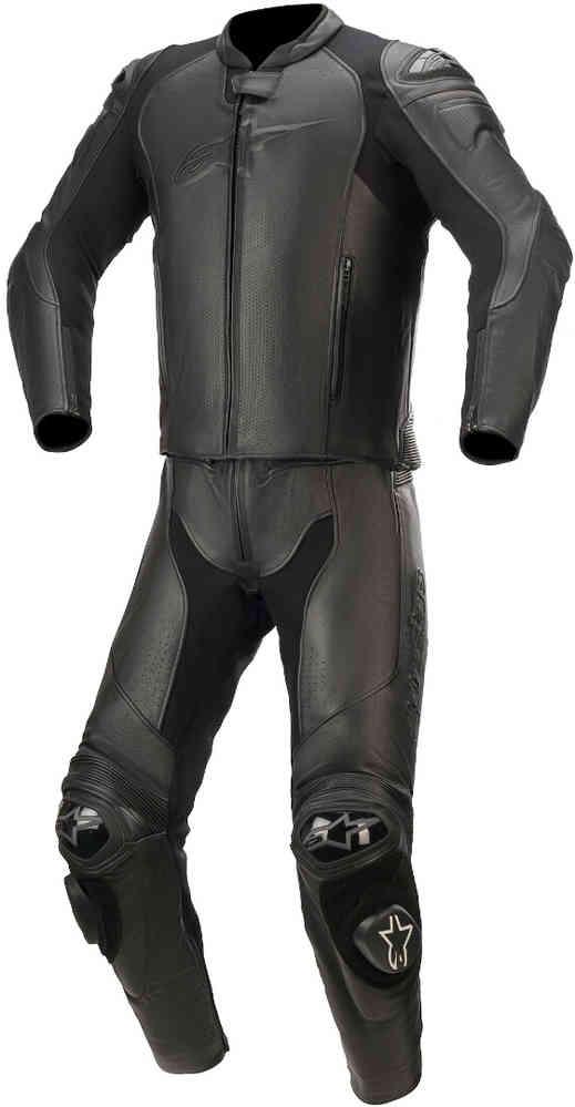 Alpinestars GP Plus v3 Graphite Two-Piece Leather Suit Black