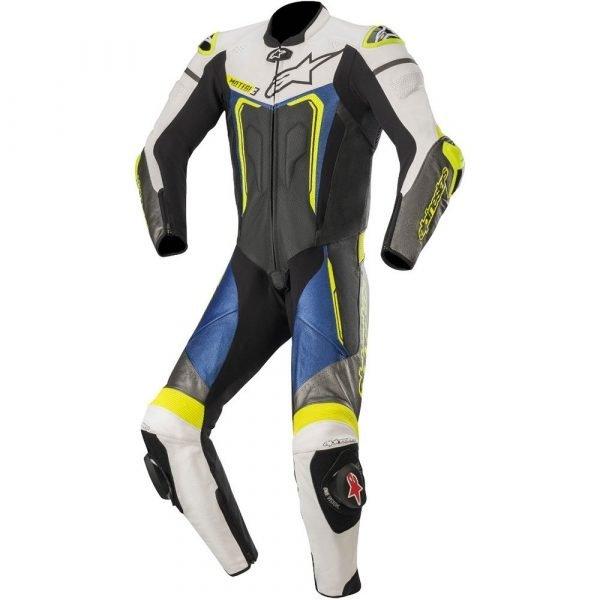 Alpinestars Motegi v3 Leather Suit - Black/Blue/White/Fluo Yellow colour