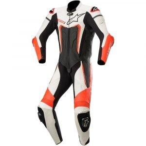 Alpinestars Motegi v3 Leather Suit - Black/White/Red Fluo