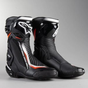 Alpinestars SMX Plus v2 MC Boots - Black/White/Red Fluo colour