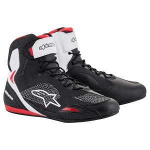 Alpinestars Faster 3 Rideknit Shoes - White/Red colour, Chelsea Motorcycle Group