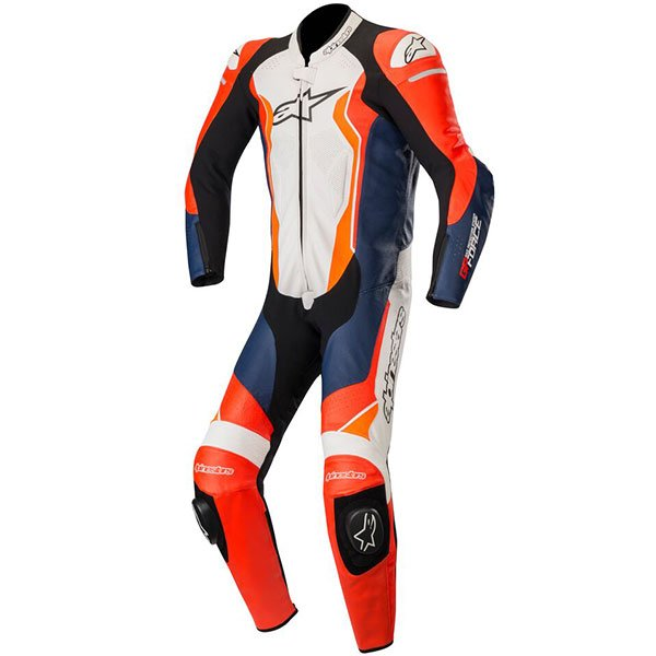 Alpinestars GP Force Leather Suit - Red/White/Orange colour, Front view