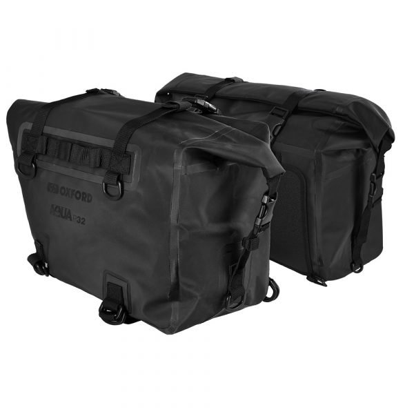 Oxford Aqua P32 Panniers - Black colour, Motorcycle Clothing Shop