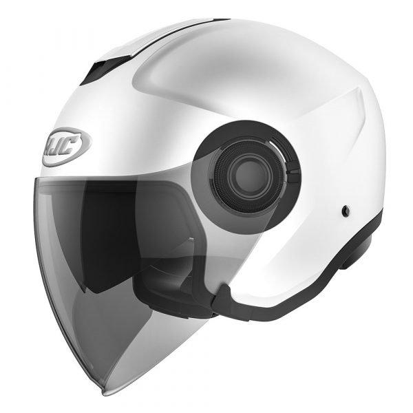 HJC I40 Semi Flat Helmet - Pearl White colour, Chelsea Clothing, London, UK