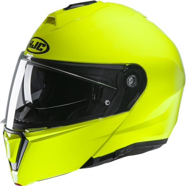 HJC I90 Helmet - Fluo Yellow colour, Scooter and Motorcycle Clothing Shop, Chelsea, London, UK