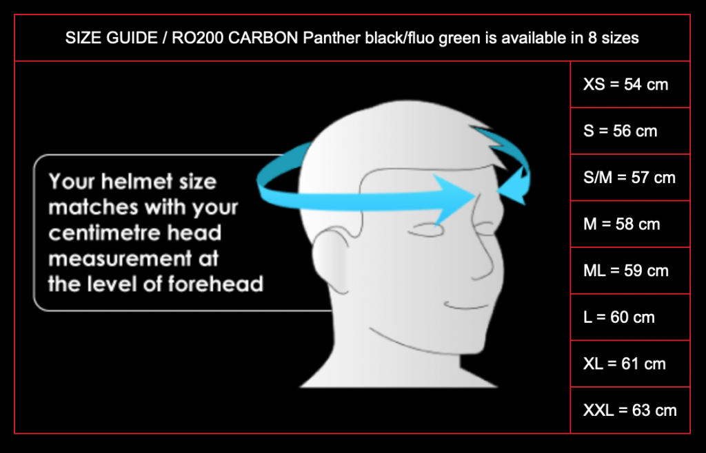 ROOF RO200 CARBON Size Chart