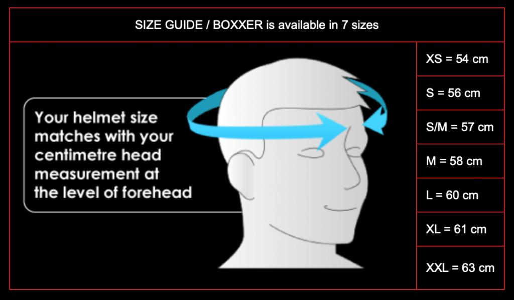 ROOF RO9 BOXXER Helmets London - size chart