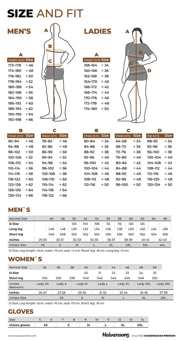 Halvarssons Sizes Chart