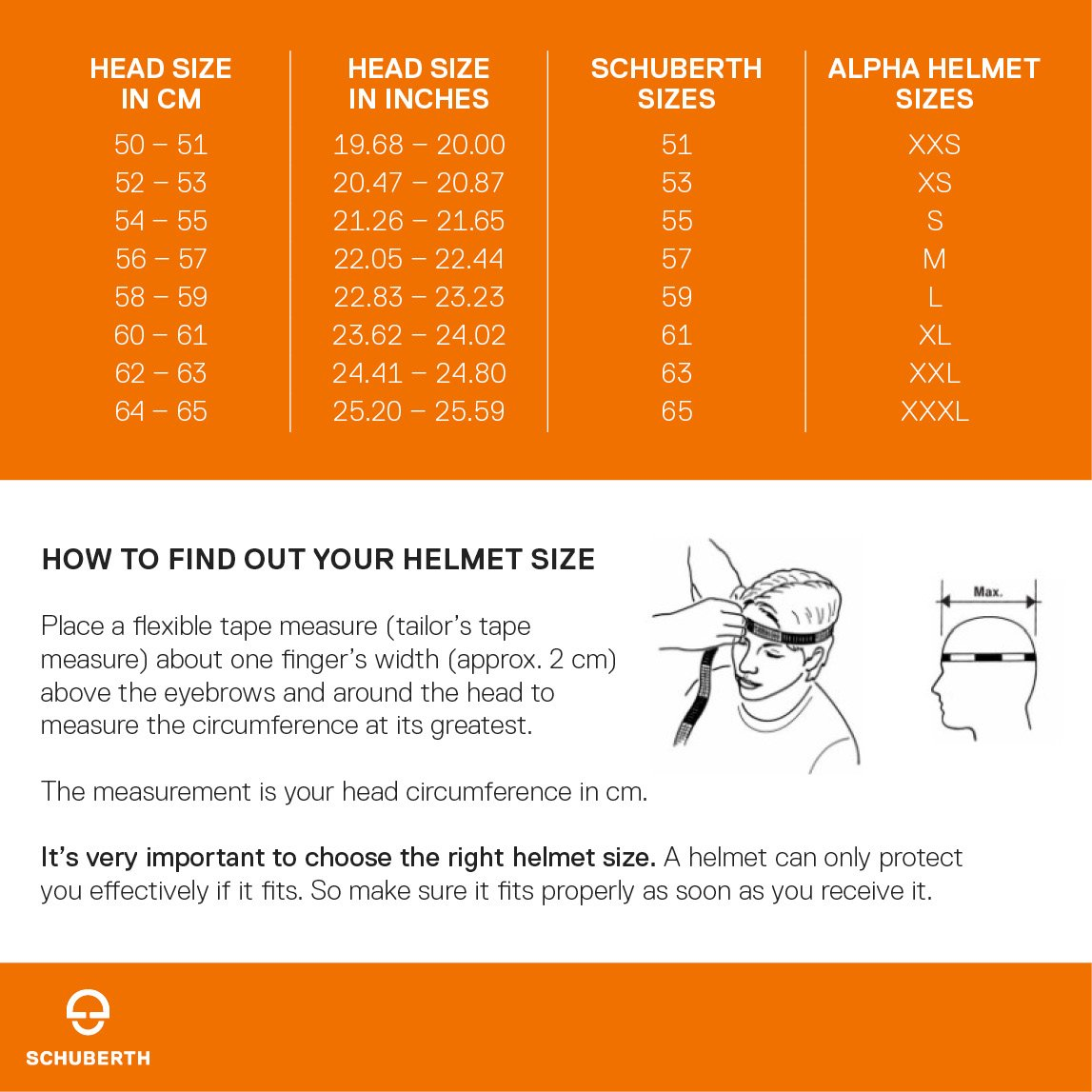 Schuberth helmet size chart