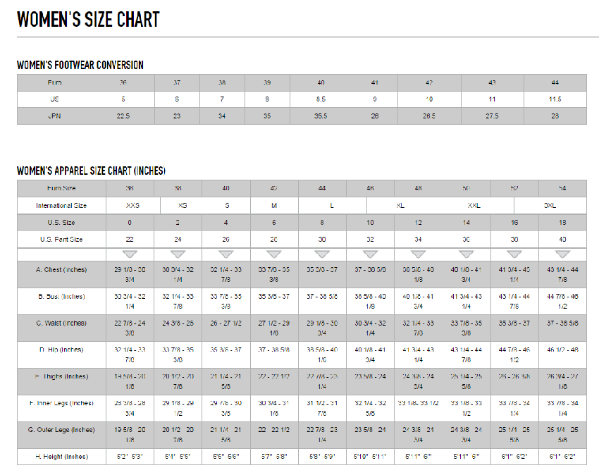 Alpinestars female size chart