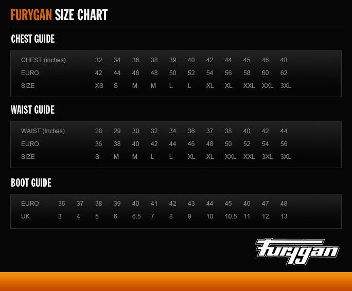 Furygan size chart