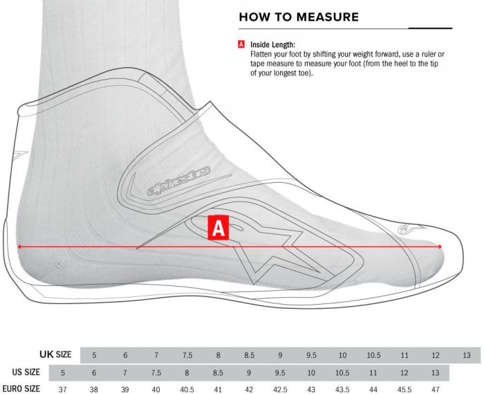 Alpinestars shoes size chart