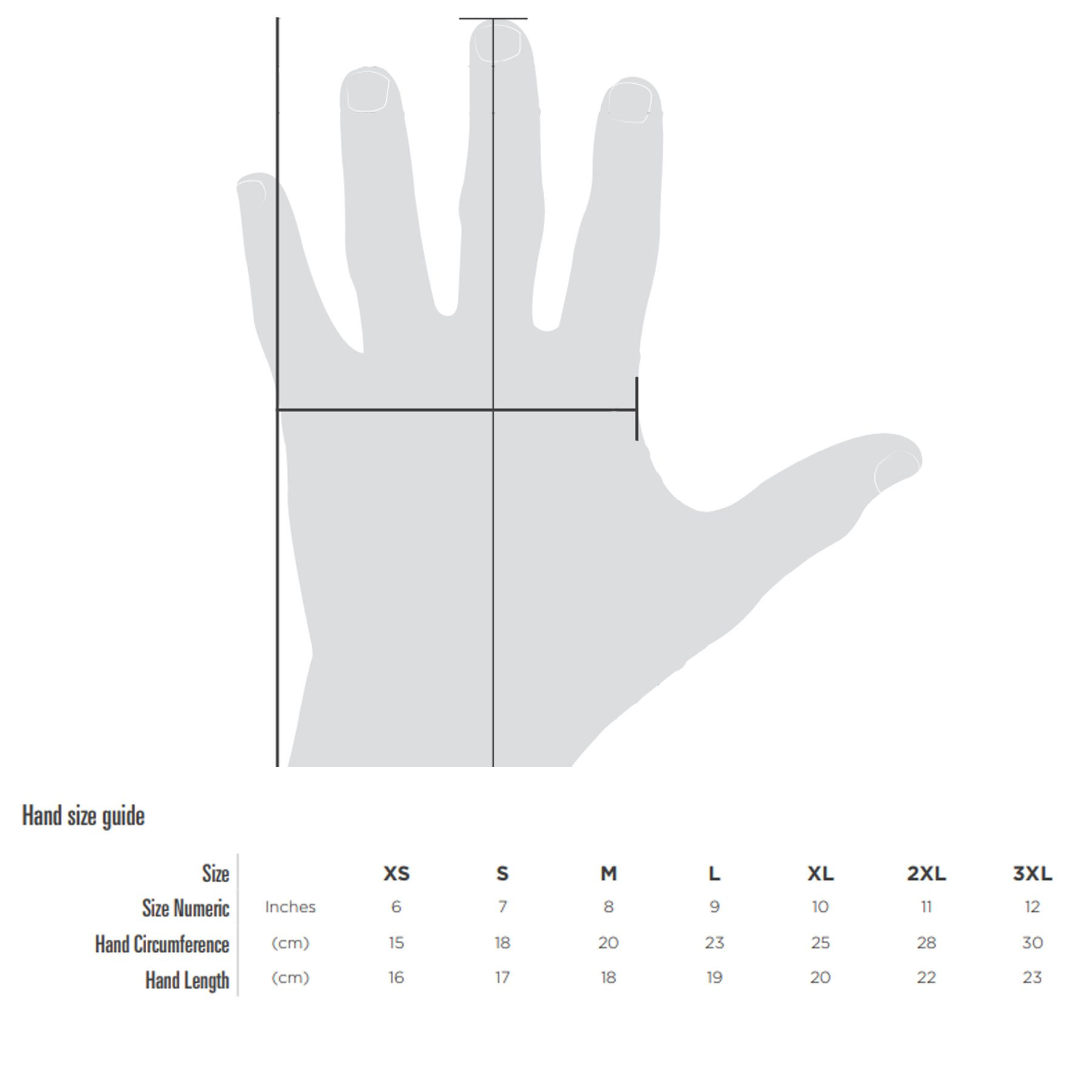 Oxford gloves size guide