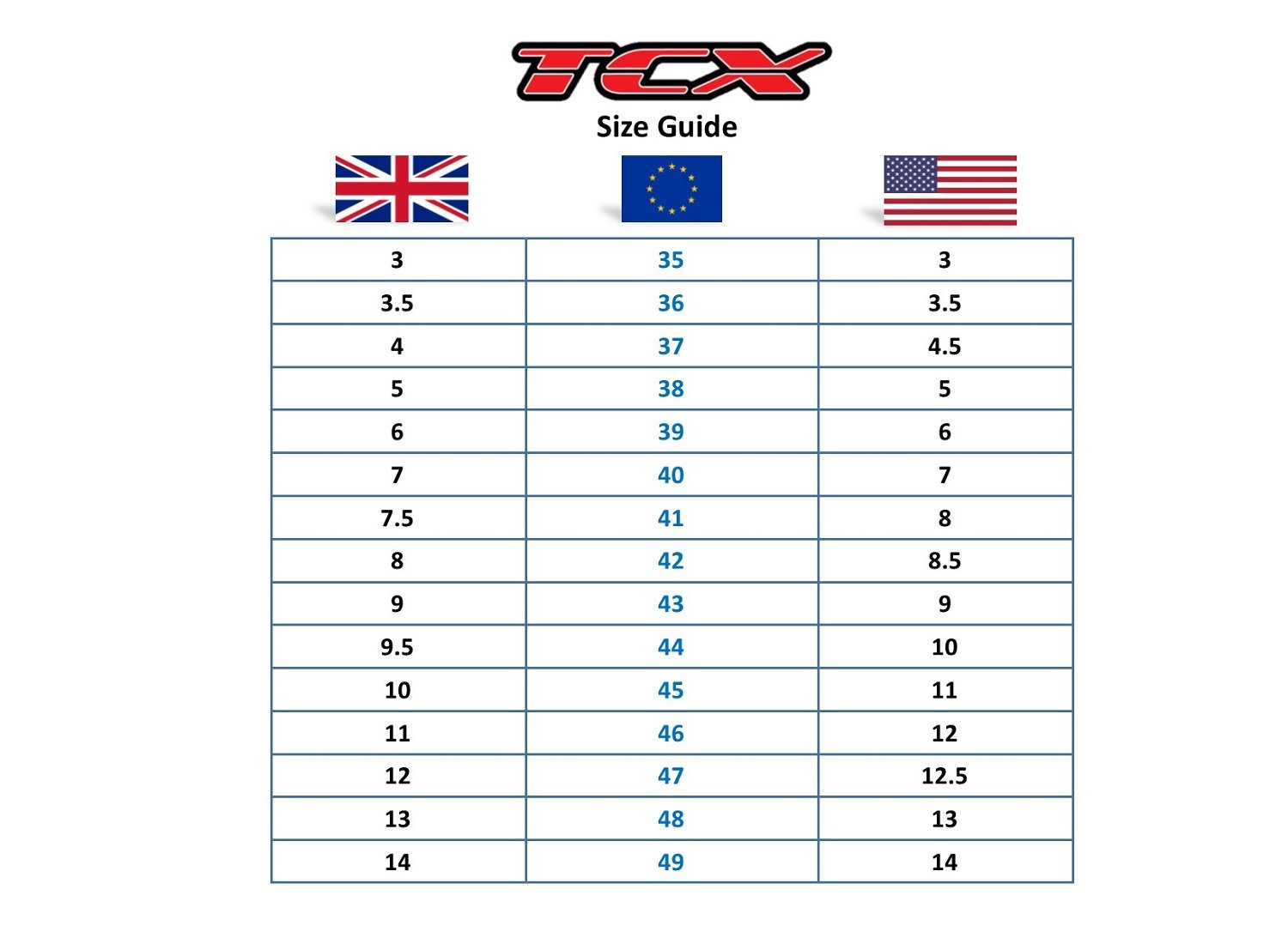 TCX boots size guide