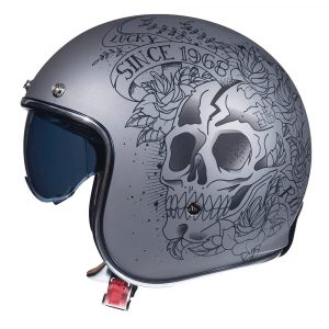 MT Le Mans 2 Skull & Roses Helmet - Matt Grey & Black colour