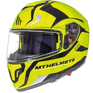 MT Atom SV Divergence Flip Up-Front Motorcycle Helmet - Fluo Yellow colour, CMG Shop
