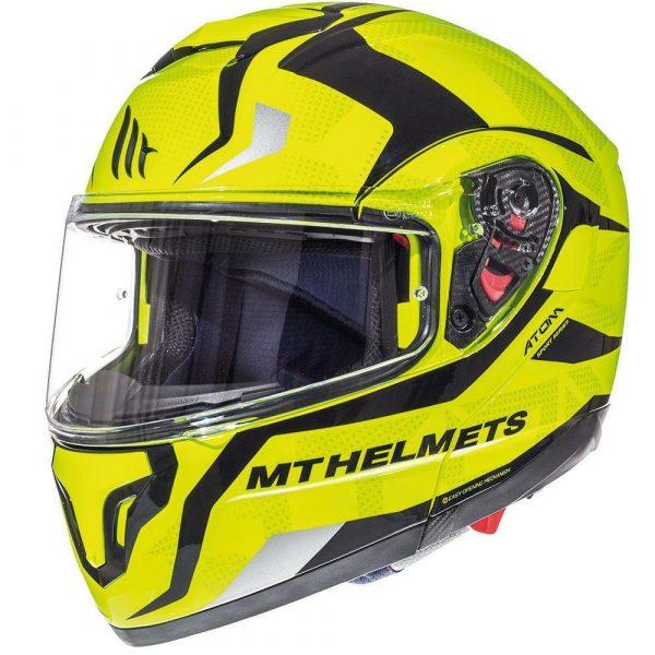 MT Atom SV Divergence Flip Up-Front Motorcycle Helmet - Fluo Yellow colour, CMG Shop