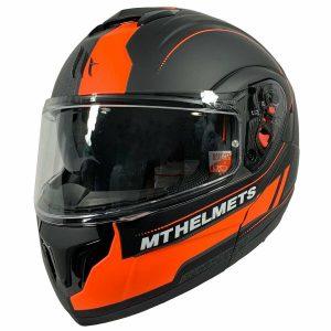 MT Atom Divergence SV Raceline Evo Motorcycle Helmet - Matt Black/Fluo Orange colour