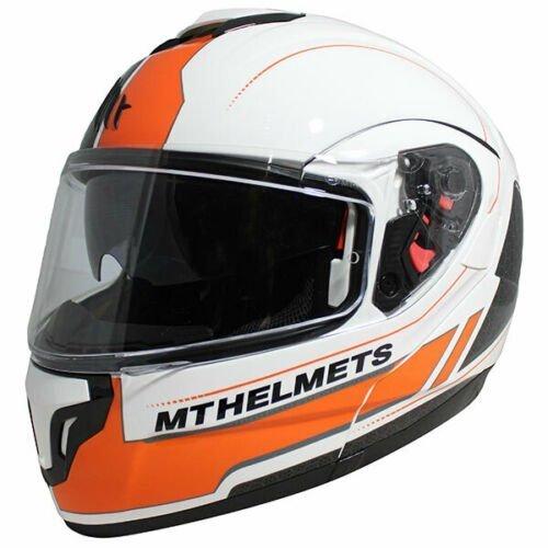 MT Atom SV Raceline Evo Motorcycle Helmet - White/Black/Orange colour