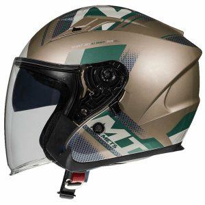 MT Avenue SV Sideway Helmet - Gold/Forest Green colour