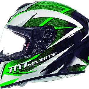 MT Rapide Crucial Motorcycle Helmet - Pearl White/Green colour