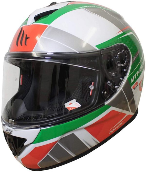 MT Rapide Global Motorcycle Helmet - White/Green/Red colour, UK