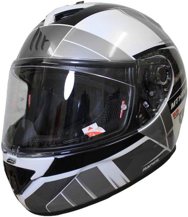 MT Rapide Global Motorcycle Helmet - White/Grey colour, Chelsea
