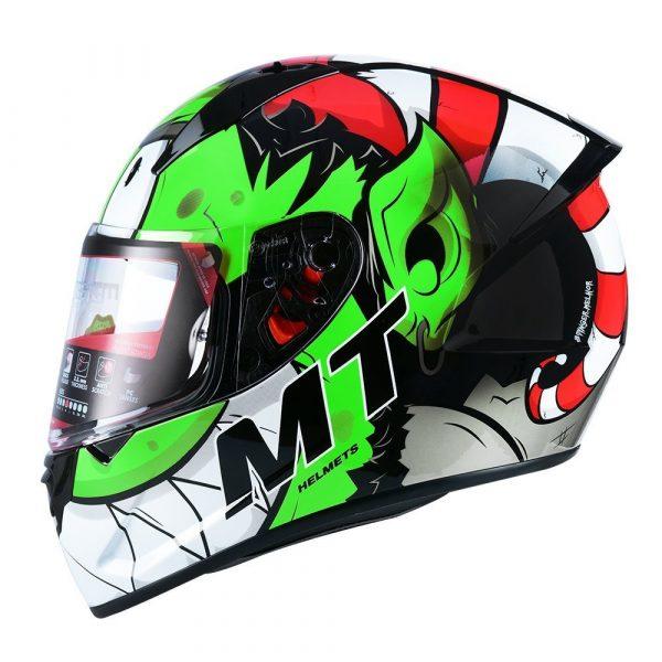 MT Stinger Melkor Helmet - Green/Red/White colour, UK