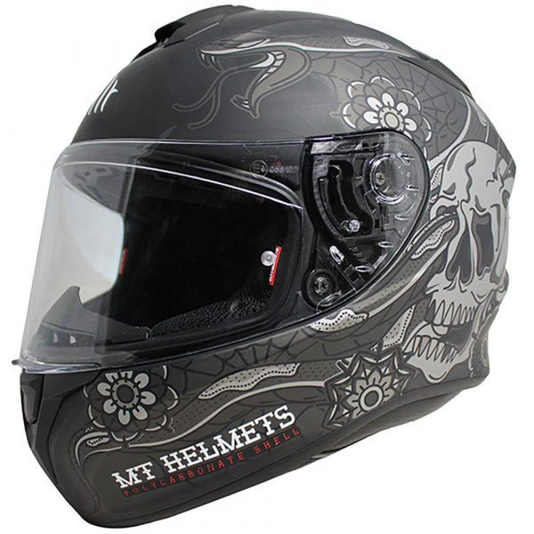 MT Targo Dagger Helmet 2021 - Matt Black/Grey colour, Motorbike Clothing Shop, Chelsea