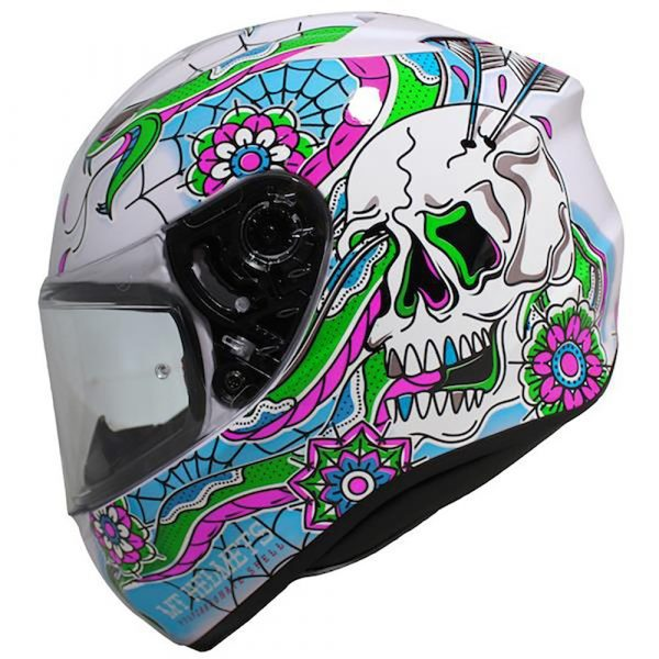 MT Targo Dagger Helmet - White/Blue/Green/Pink colour, CMG Shop