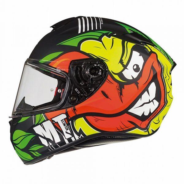 MT Targo Truck Helmet 2021 - Black/Green/Fluo Yellow colour, Chelsea Motorcycle Group Shop, UK