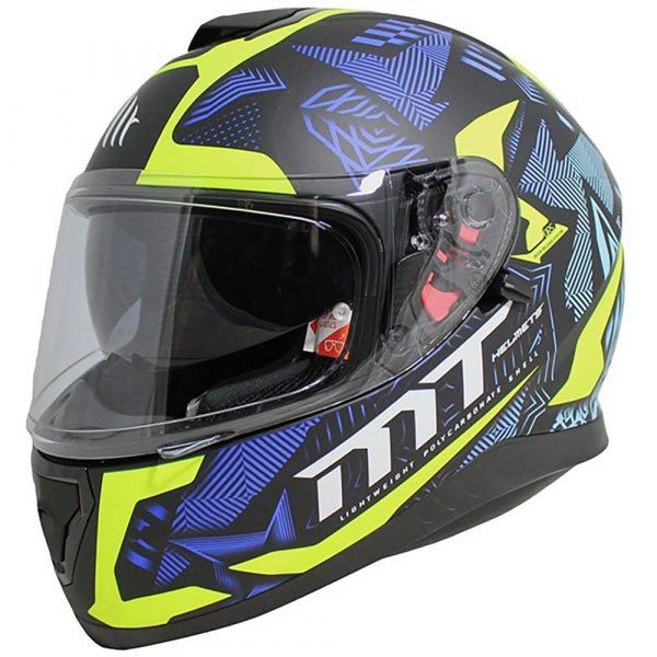 MT Thunder 3 Fractal Helmet - Matt Black/Blue/Fluo colour