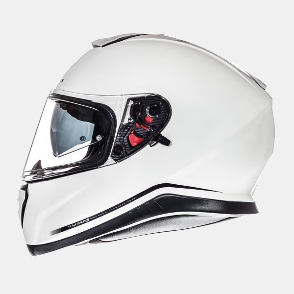 MT Thunder 3-Jet SV Helmet - Solid Gloss Pearl White colour, CMG UK